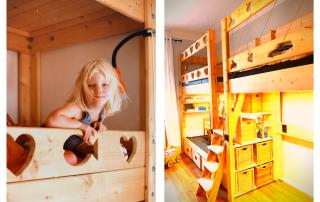Liebevolles Upcycling unseres Stockbettes von 1982 zu einem Doppel-Hochbett für zwei Kinder