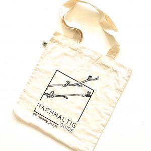 Jutetasche (leicht - Natur) mit Logo von Nachhaltig Guide